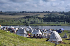 Medieval camping tents Stock Image