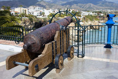 Medieval Cannon at the Balcon de Europa Royalty Free Stock Images