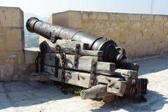 Medieval cannon in the Castle of Santa Barbara. Alicante Spain Stock Photography