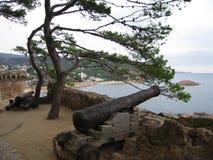 Medieval cannon on the castle walls in Tossa de Mar, Costa Brava (Spain) Stock Photo