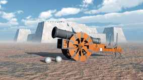 Medieval cannon and fortress. Computer generated 3D illustration with medieval cannon and fortress Royalty Free Stock Photography