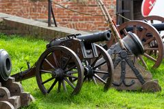 The medieval cannon. Medieval cannon in fortress in Gdansk, Poland stock image