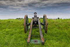 The medieval cannon. Medieval cannon in fortress in Gdansk, Poland stock photo