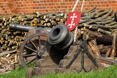 The medieval cannon. Medieval cannon in fortress in Gdansk, Poland stock photos