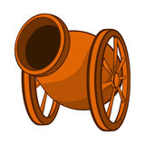Medieval cannon icon, cartoon style. Medieval cannon icon in cartoon style on a white background Stock Photography