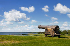 Medieval cannon in Sweden. Royalty Free Stock Photo