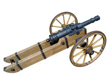 Medieval cannon on wheels Royalty Free Stock Images