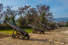 Medieval cannons at ioannina`s castle in Greece stock images