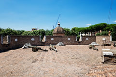 Medieval cannons in the tower of Castel Sant'Angelo, Rome Stock Photos