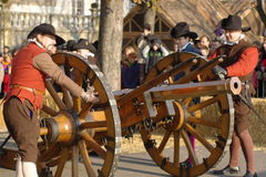 Medieval canon gun at Carnaval of Escalade Stock Image