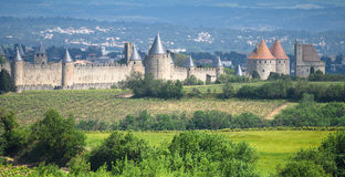 Medieval Carcassone with Vineyards - France Stock Images