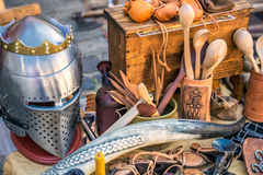Medieval carnival in Riga. Knight items during medieval carnival in Riga Old Town During sunset time royalty free stock image
