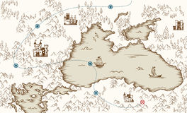 Medieval cartography, old pirate treasure map, vector illustration Royalty Free Stock Photo