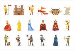 Medieval Cartoon Characters And European Middle Ages Historic Period Attributes Set Of Icons. Fairy Tale And Fable Related Vector Illustrations Inspired By vector illustration