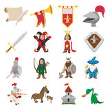 Medieval cartoon icons set Royalty Free Stock Images