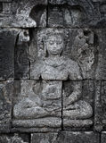 Medieval carving on wall of the Borobudur temple Stock Photography
