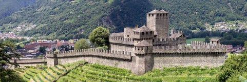 Medieval castel Montebello, Ticino, Switzerland. Medieval castel Montebello, Bellinzona, Canto Ticino, Switezrland Stock Photos