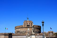 Castel Sant`Angelo in Rome, Italy. Medieval Castel Sant`Angelo Mausoleum of Hadrian in Parco Adriano, Rome, Italy stock image