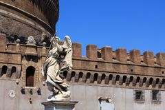 Castel Sant`Angelo in Rome, Italy. Medieval Castel Sant`Angelo Mausoleum of Hadrian in Parco Adriano, Rome, Italy royalty free stock images