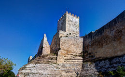 Medieval castello di Lombardia fortress, Enna, Sicily, Italy. The fortified Castello di Lombardia fortress of Enna on a rock, Sicily, Italy, under a blue sky Royalty Free Stock Photo