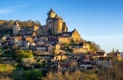 Medieval Castelnaud village and castle, Perigord, France. Medieval Castelnaud-la-Chapelle hilltop village with Chateau de Castelnaud castle, Dordogne, Perigord stock photography