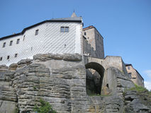 Medieval Castle. In the Czech Republic sitting on top of a steep rocky cliff Stock Photo