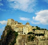 Medieval castle. Aragonese Castle on Ischia, italian island in Naple Gulf Royalty Free Stock Photos