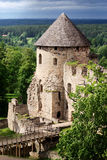 Medieval castle. In the forest in latvia royalty free stock image