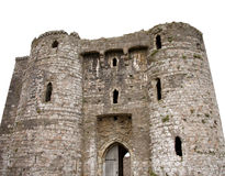 Medieval castle. Ancient British 12th century Norman medieval ruined castle with clipping path stock photos