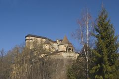 The medieval castle. The medieval fortress Orava Castle Slovakia in March 2012 Stock Photos