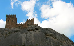 Medieval castle. Tower of Genoese fortress in Sudak, Crimea Stock Photo
