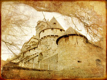 Medieval castle. In france - toned picture in retro style royalty free stock images