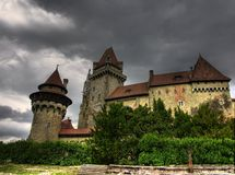 Medieval Castle. Kreuzenstein in Austria, Europe. Picture taken just before storm Royalty Free Stock Photography