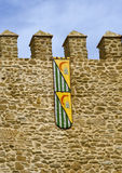 Medieval castle. Wall and flag Stock Photos