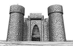 Medieval castle against a white background. Computer generated 3D illustration with a medieval castle against a white background Stock Photo