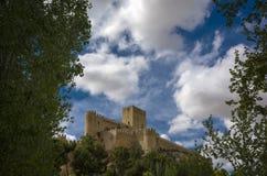 Medieval Castle of Almansa. Against a cloudy sky. Castilla la Mancha, Spain Stock Photos