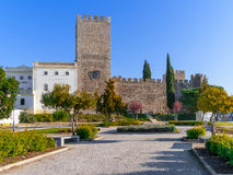 Medieval Castle of Alter do Chao, seen from the Doze Melhores de Alter Square. Royalty Free Stock Photo