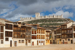 Medieval castle as seen from the square in Penafiel. Spain Royalty Free Stock Photos