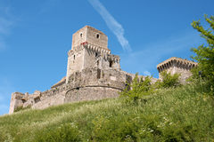 Medieval castle of Assisi (Rocca Maggiore) royalty free stock photos