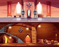 Medieval castle ballroom, dungeon interior vector. Medieval castle ballroom with knight guards near royal throne and ancient dungeon with treasures cartoon vector illustration