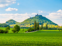 Medieval castle Bezdez on the mountain top. Sunny summer day with lush green fields in Czech landscape. Czech Republic stock images