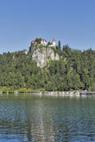 Medieval castle and Bled Lake royalty free stock image