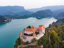 Medieval castle on Bled lake in Slovenia royalty free stock photography