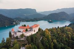 Medieval castle on Bled lake in Slovenia royalty free stock image