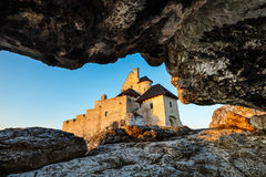 Medieval castle in Bobolice, Poland. Medieval castle at sunset in Bobolice, Poland Royalty Free Stock Photo