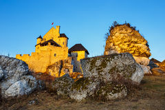 Medieval castle in Bobolice, Poland. Medieval castle at sunset in Bobolice, Poland Royalty Free Stock Photos