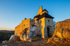 Medieval castle in Bobolice. Medieval castle at sunset in Bobolice, Poland Stock Images
