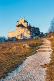 Medieval castle in Bobolice, tourist route  Eagle nests. View of the medieval castle in Bobolice, tourist route  Eagle nests Royalty Free Stock Photos