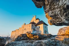 Medieval castle in Bobolice, tourist route  Eagle nests. View of the medieval castle in Bobolice, tourist route  Eagle nests Royalty Free Stock Images