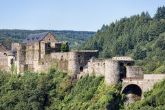 Medieval Castle of Bouillon in Belgian Ardennes. Near river Semois stock photos